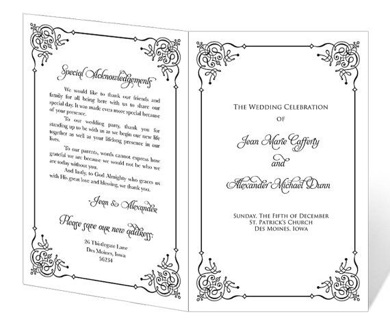 Instant Download  Wedding Program Template  Flourish Frame Design