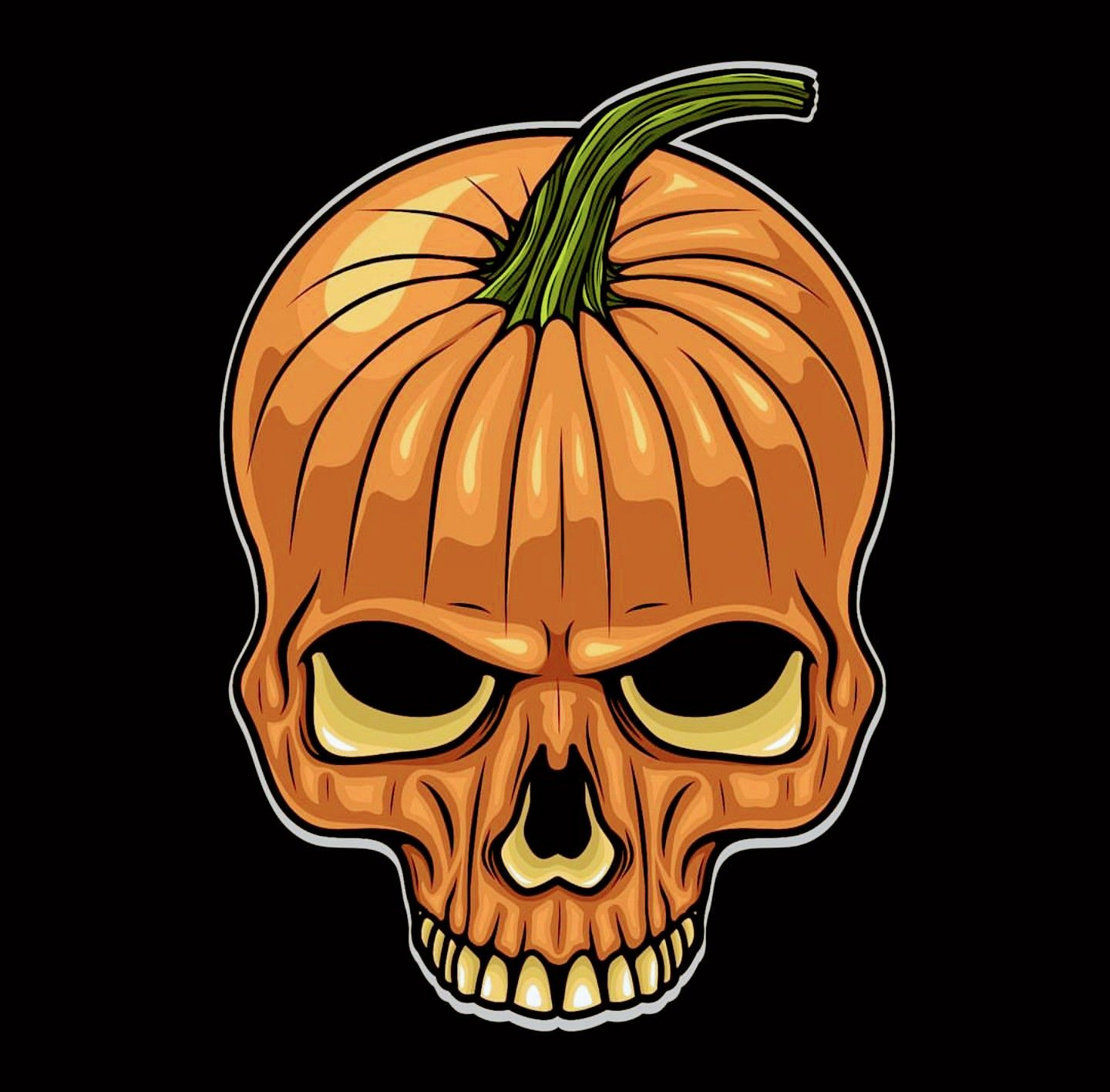 Pumpkin Skull, Halloween Halloween illustration, Pumpkin