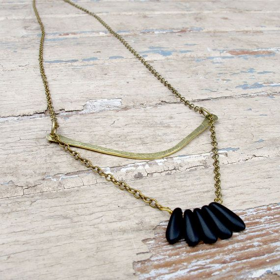 Featherlight  Brass Metalwork Necklace  Black Glass by Tangleweeds, $35.00
