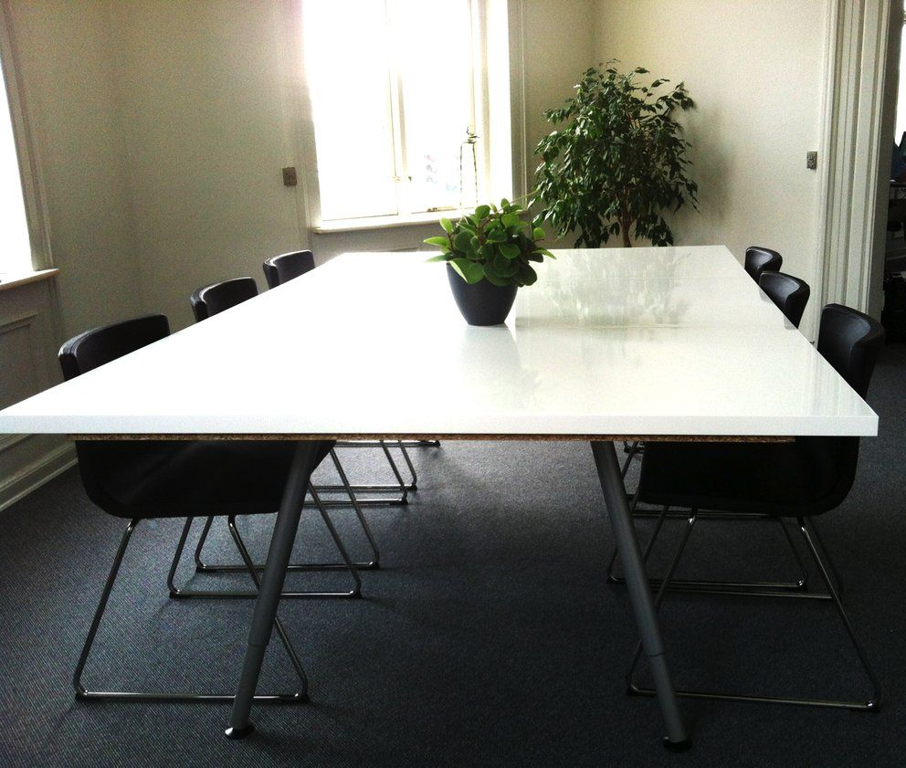 Ikea hackers make your own conference table cool tips for Ikea galant bureau debout hack
