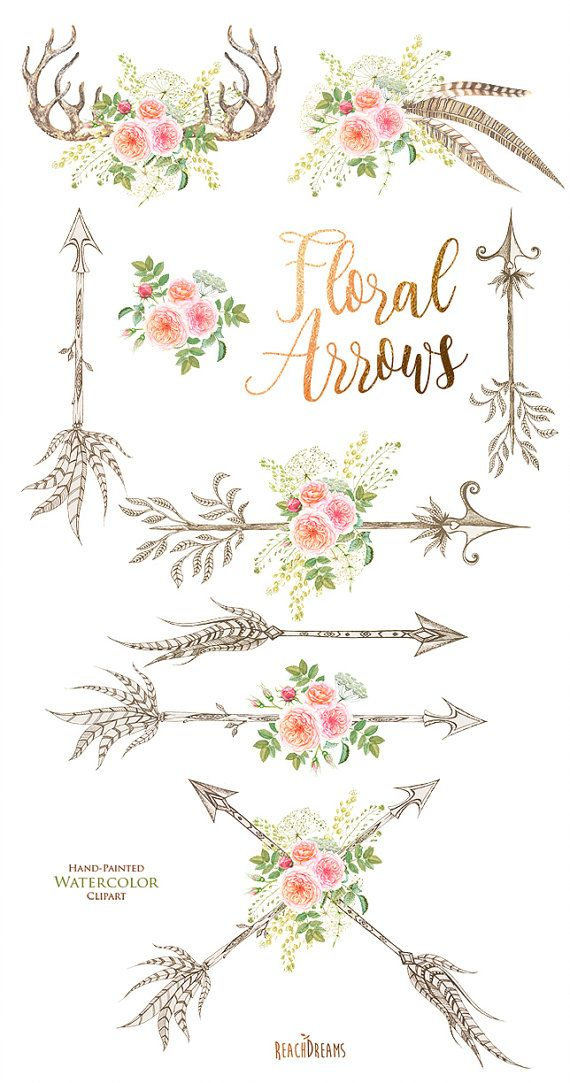 Watercolor Flowers Clipart, feathers, horns, antlers ...