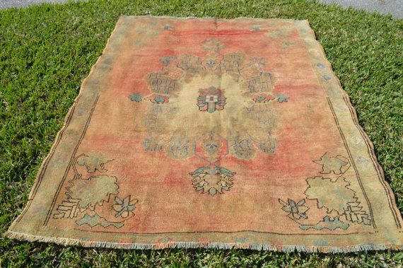 Vintage Turkish Oushak Rug With Worn Out Colors Size 5x6 Peach Melon Pink Teal Ivory Rugs Vintage Peach