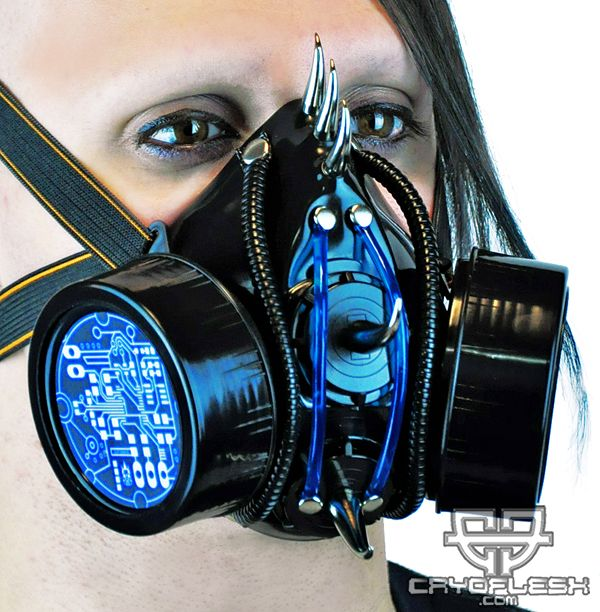 Necro Fiend Cyber LED Gas Mask DC