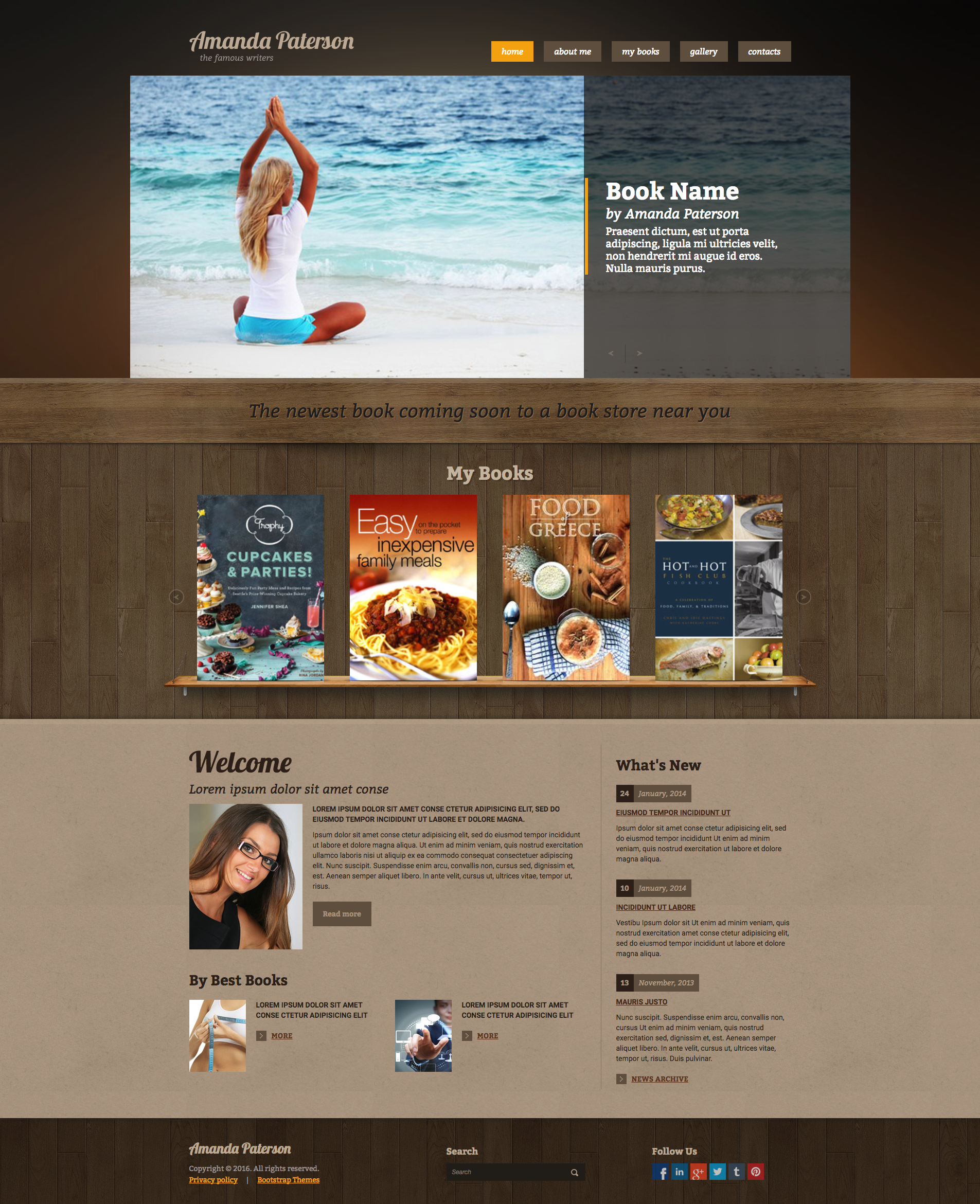 Writer - Bootstrap responsive template. The template is full and ...