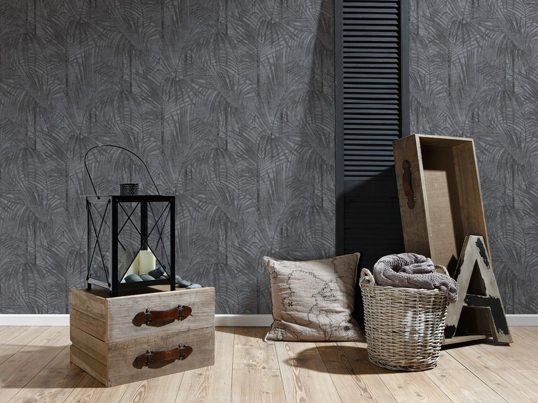 A.S. Création Tapete 336061: Tapete, Grau, Metallics, Schwarz, Floral,  Flur, Küche, Schlafen, Wohnen, Schlafzimmer, Wohnzimmer