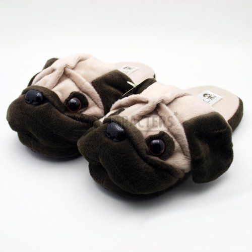 Cute Animal Pug Plush Indoor Slippers