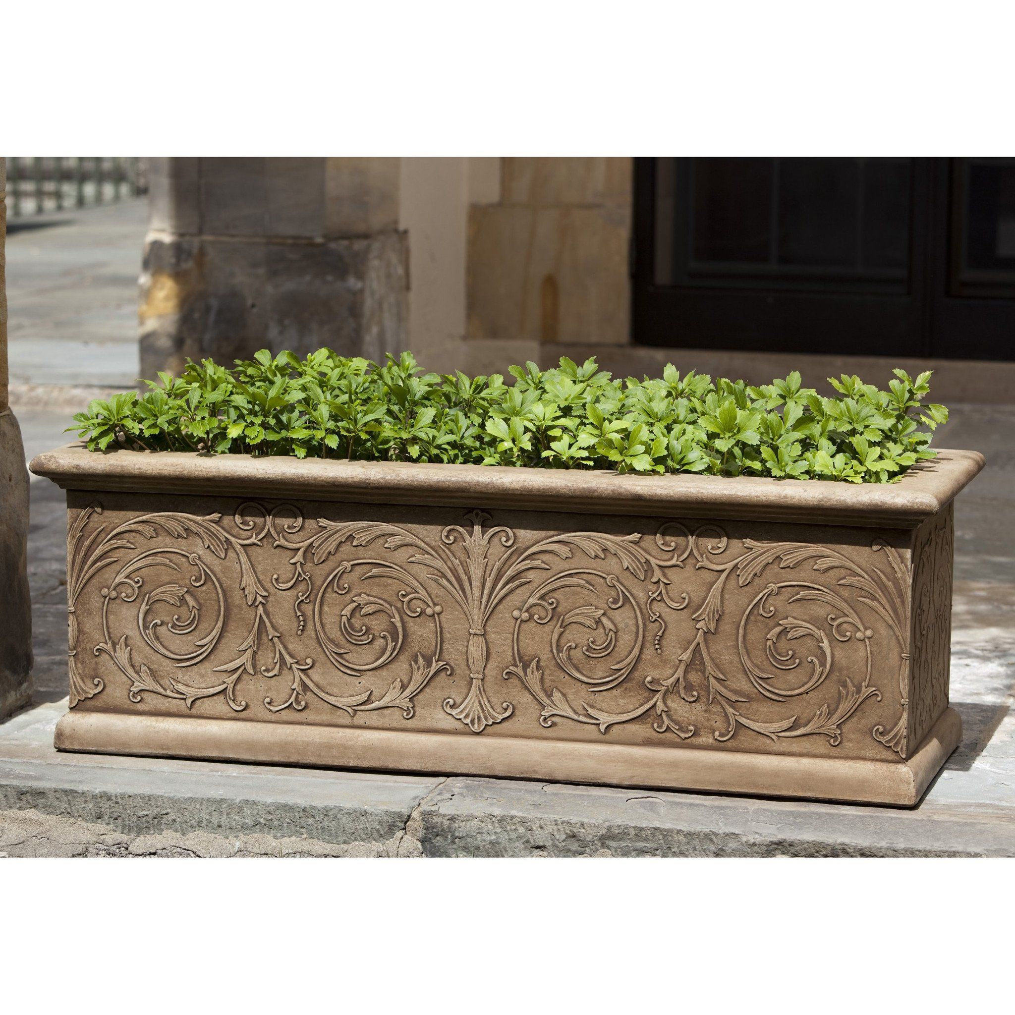 Arabesque Small Window Box Stone Planters Diy Stone Patio Rectangle Planters