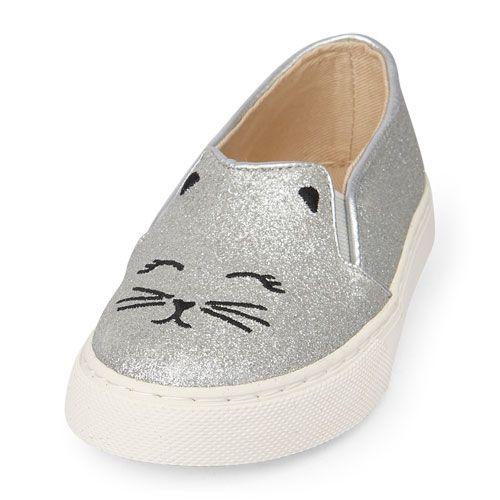 7b27d4604806 Baby Girls Toddler Glitter Cat Slip-On Rockstar Sneaker - Metallic - The  Children's Place