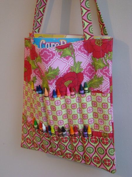 super awesomesauce! A crayon rollup on a coloring book tote all in one!