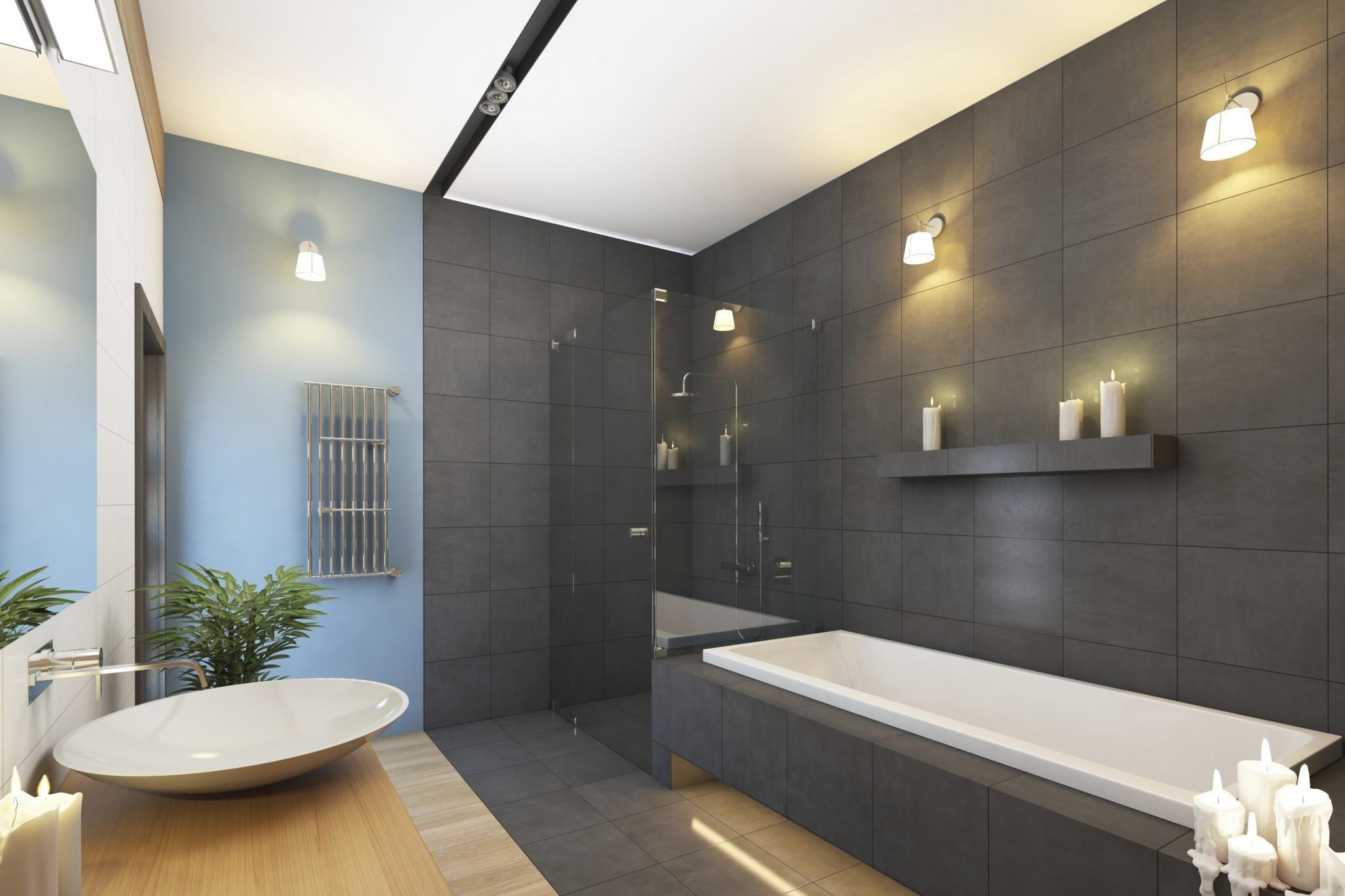 Un bagno moderno e particolare illuminato da luci led calde