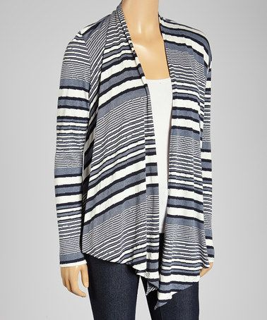Love this Ash & White Stripe Open Cardigan by Lapis on #zulily! #zulilyfinds