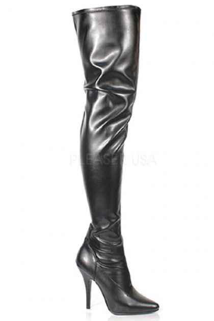 Black Stretch Faux Leather Thigh High Boots | boots | Pinterest ...