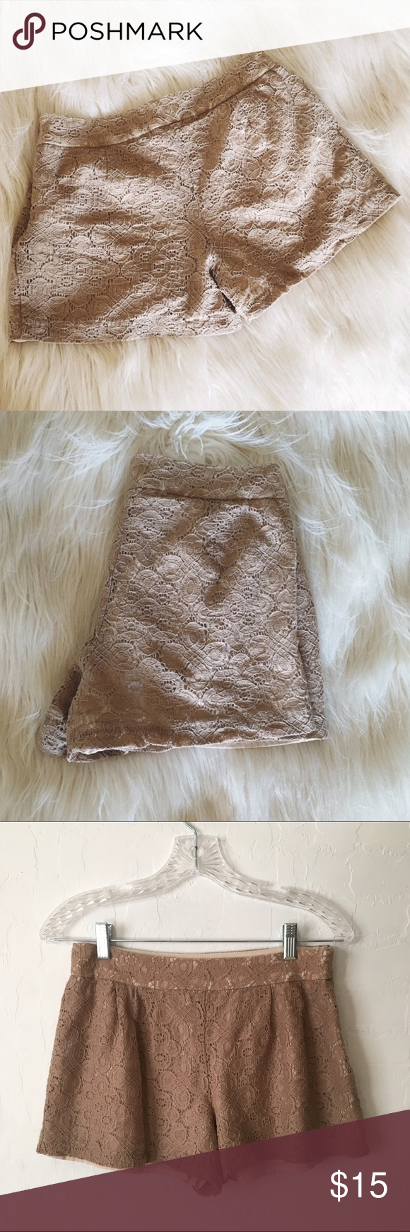 """Lace Shorts Pretty little lace shorts. Beautiful detailing, beige in color. 11"""" long, 14"""" wide (flatlay). Next day shipping. Forever 21 Shorts"""