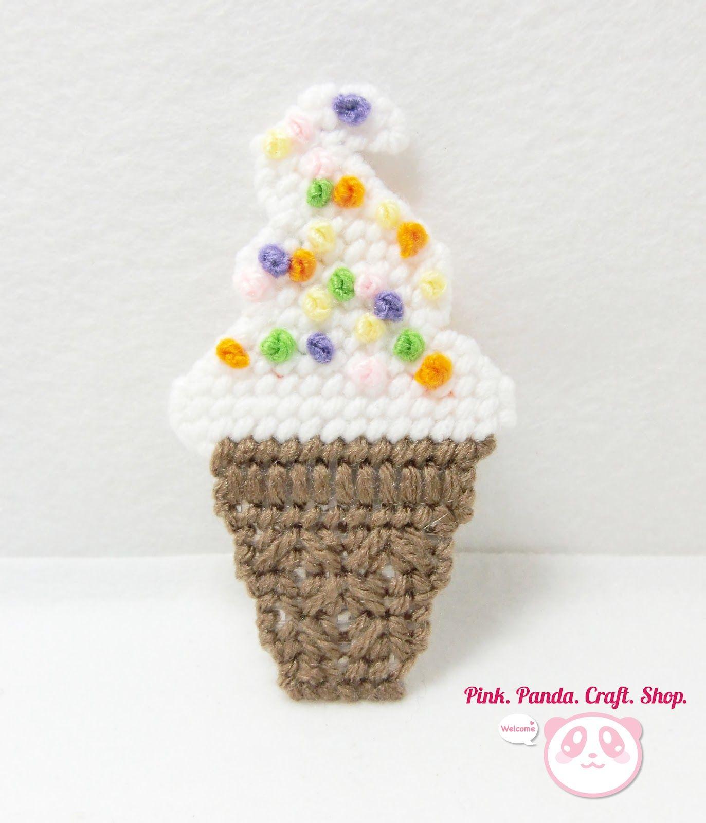 Plastic canvas ice cream cone magnet~   PinkPandaCraftShop ...