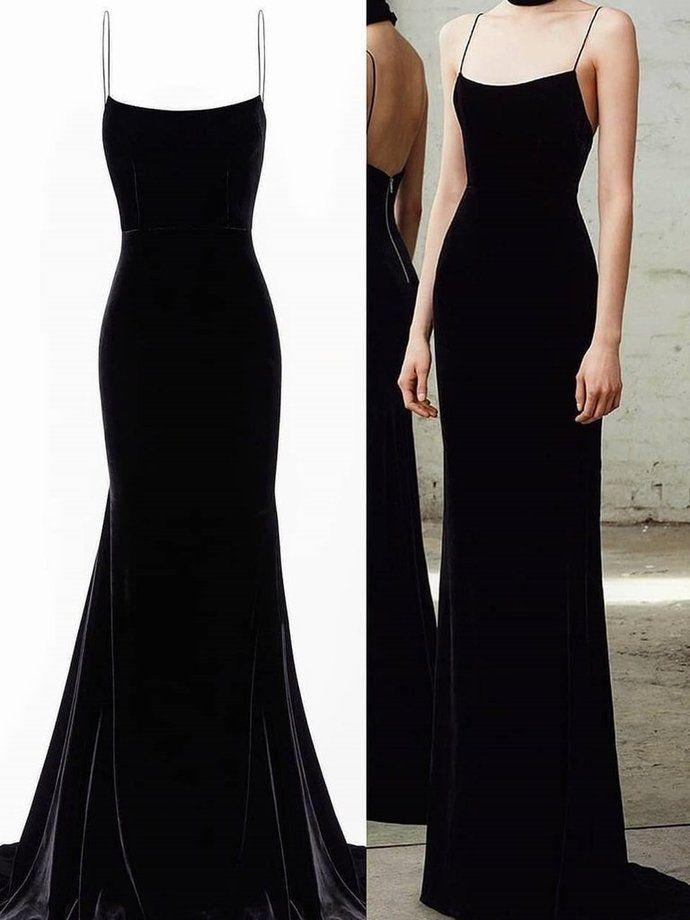 Spaghetti Straps Black Mermaid Long Prom Dresses, Black Mermaid Long Formal Evening Dresses P2346