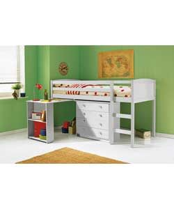 Kelsey White Mid Sleeper/Desk/Chest with Buddy Mattress.