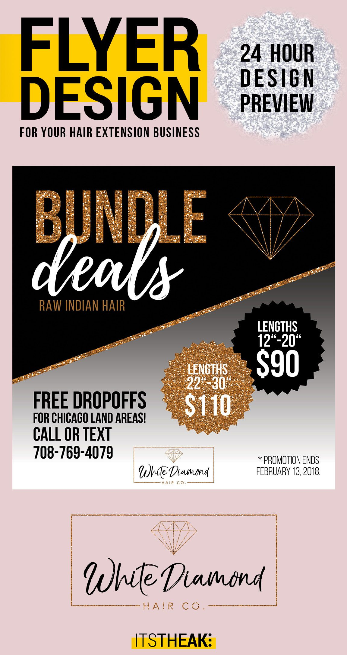 premade pricing flyer customized just for you hair extensions
