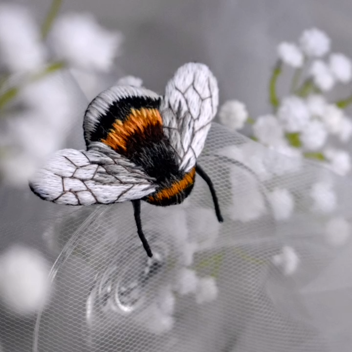 Bumblebee Embroidery Brooch