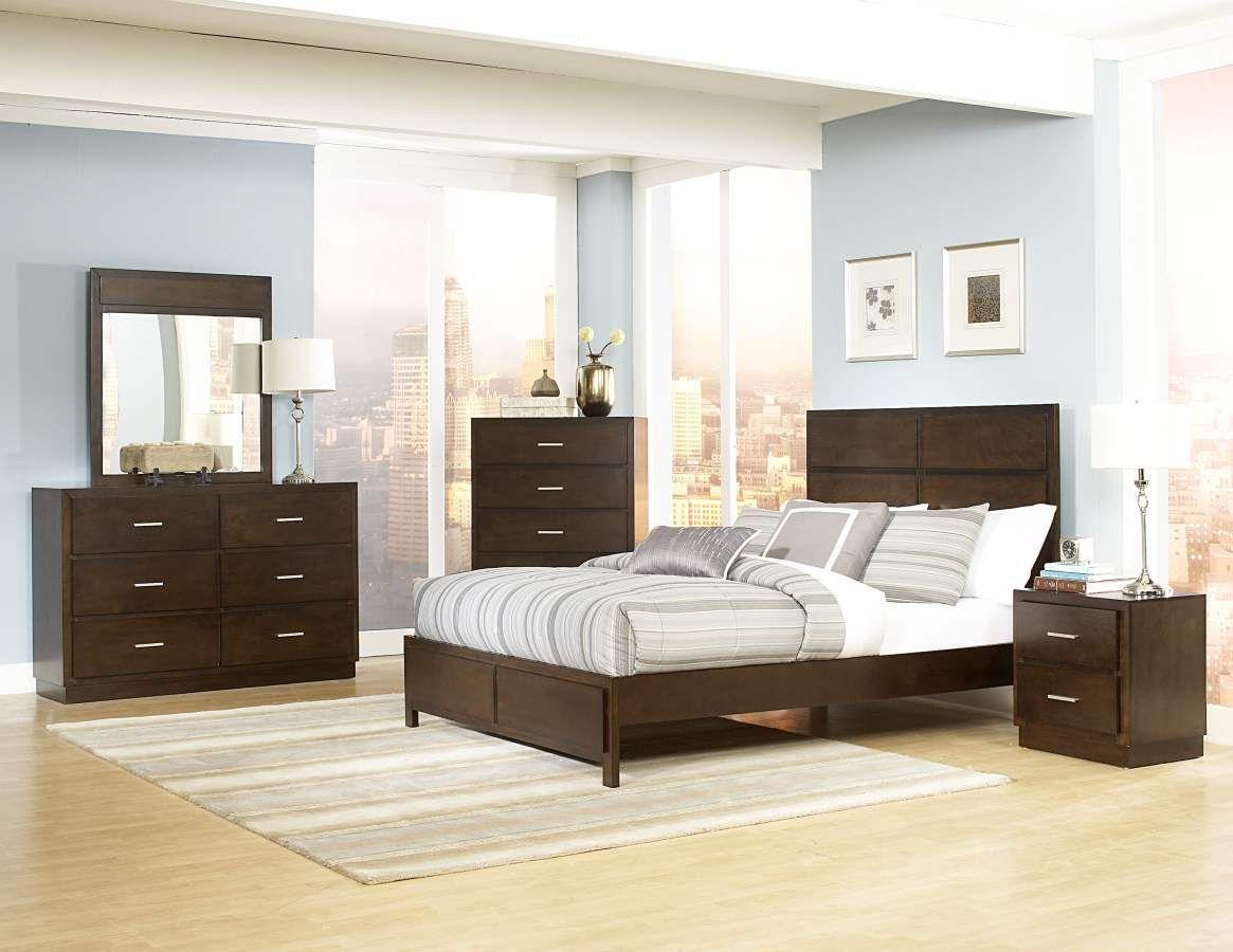 Vernada light tobacco wood metal glass master bedroom set master