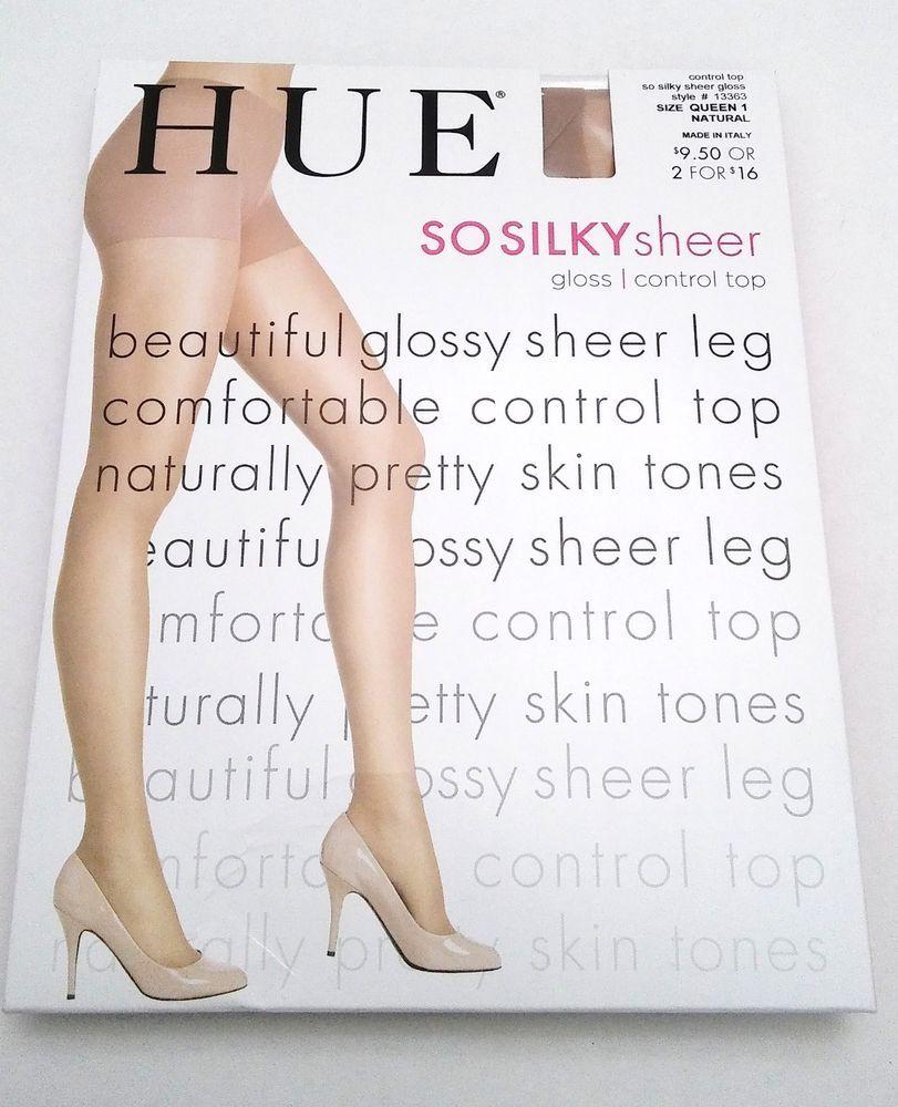 abf6f025d Hue So Silky Sheer 15 Pantyhose Size Queen 1 Natural Gloss Control Top  13363  HUE  Pantyhose