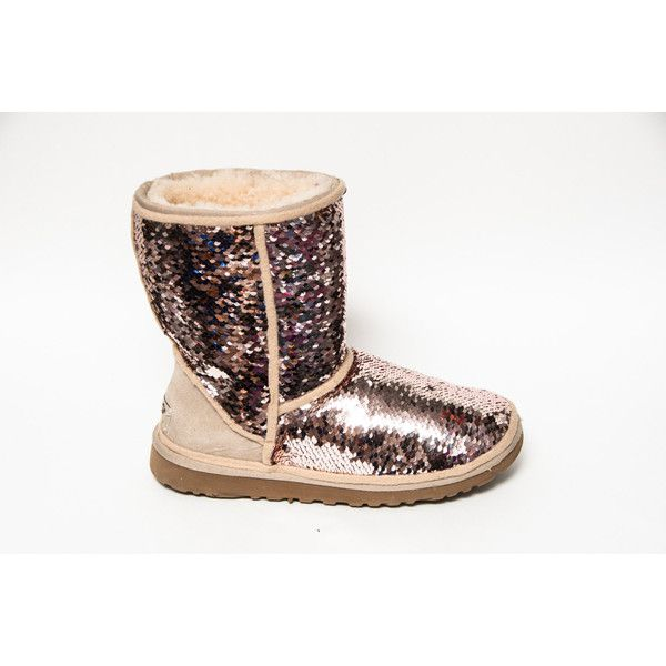 1f2b3495367 Mermaid Sequin Rose Gold & Champagne Ugg Classic Short Fuzzy Custom ...