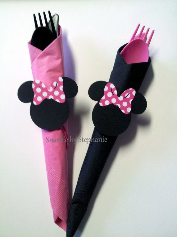 Items similar to Minnie Mouse Napkin Rings with Silverware and Napkins - Set of 12+ - You choose the bow on Etsy