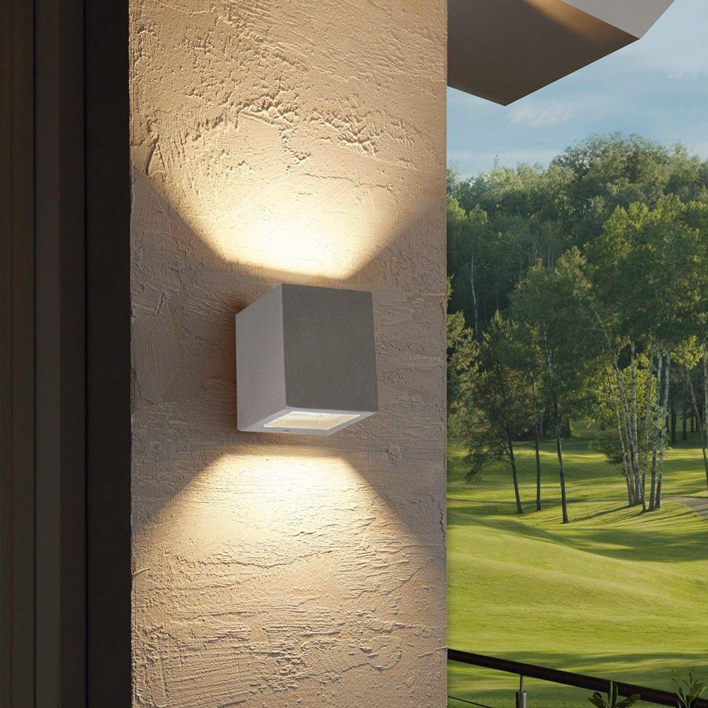 Aussenleuchten Design skapetze radial led aussen wandleuchte up eckig edelstahl