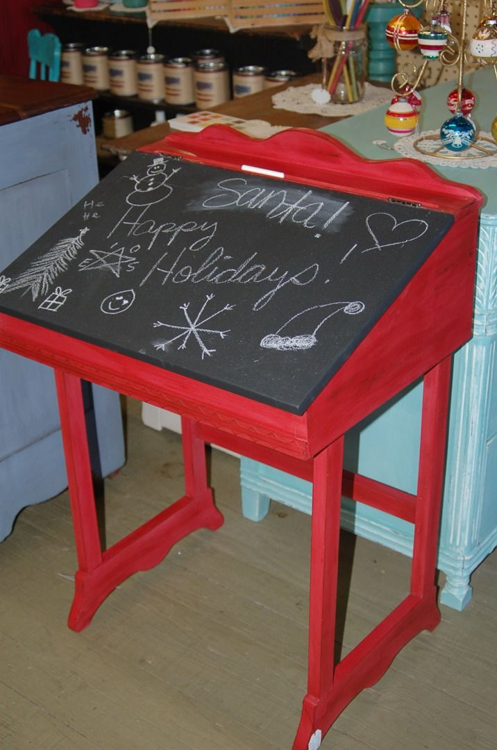 red desk with chalkboard top