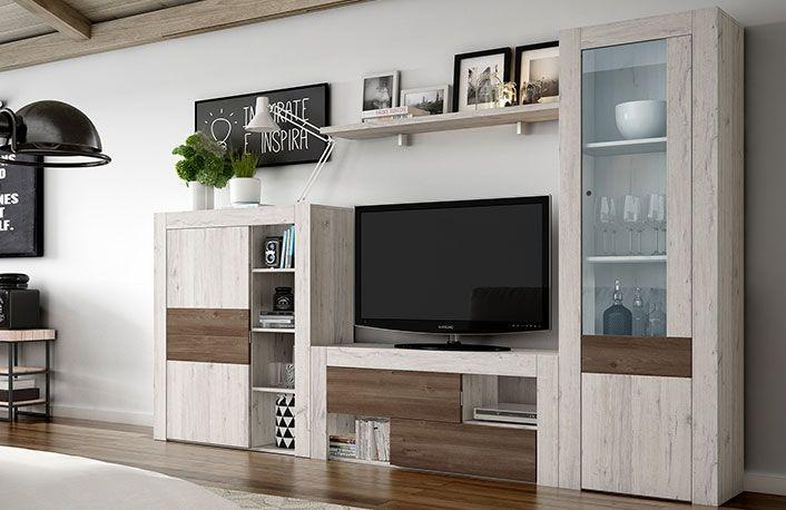 Mueble de sal n modular efecto vintage y vitrina muebles for Mueble salon minimalista