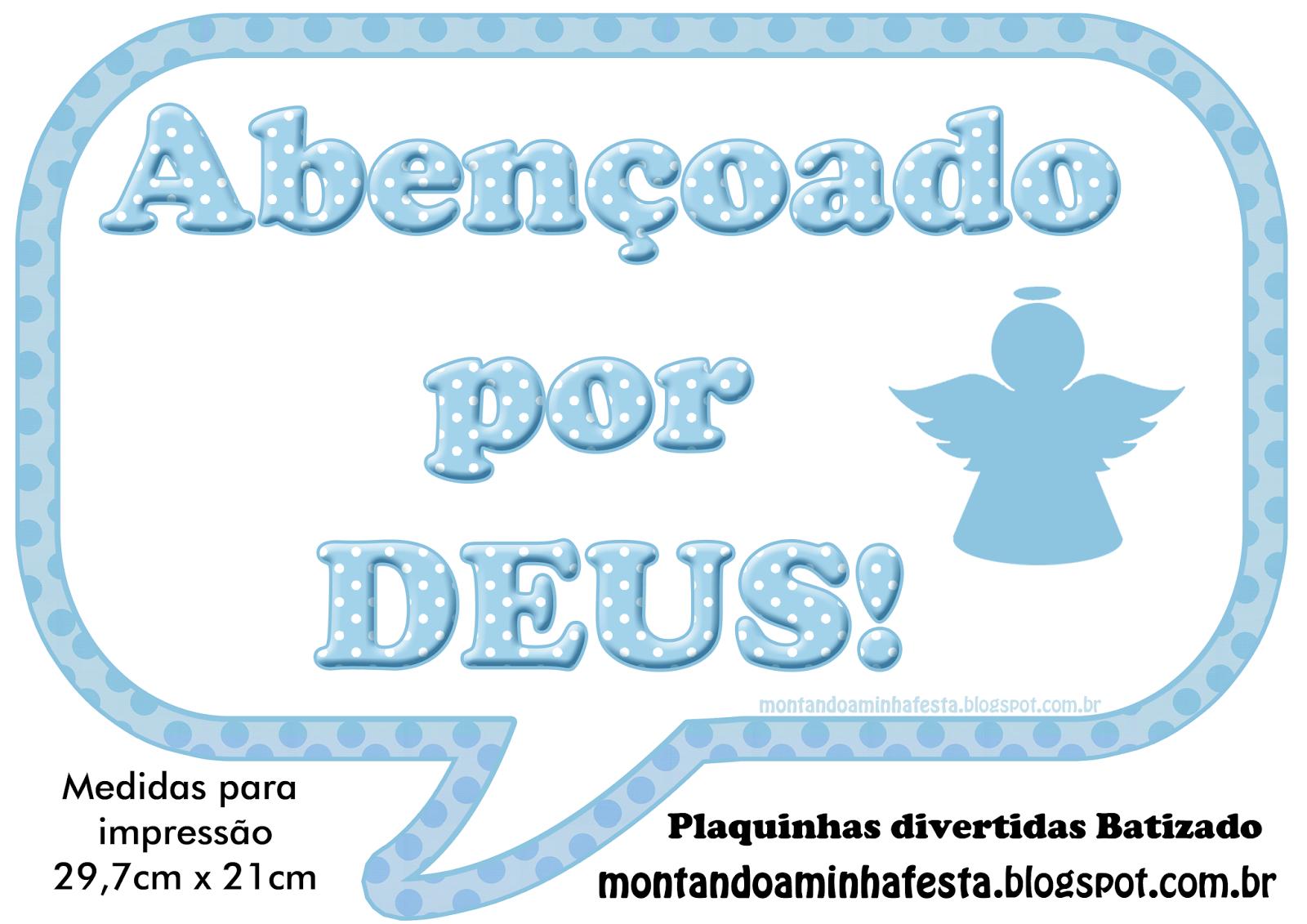 Super Montando minha festa: Plaquinhas divertidas batizado azul | bebê  EM18
