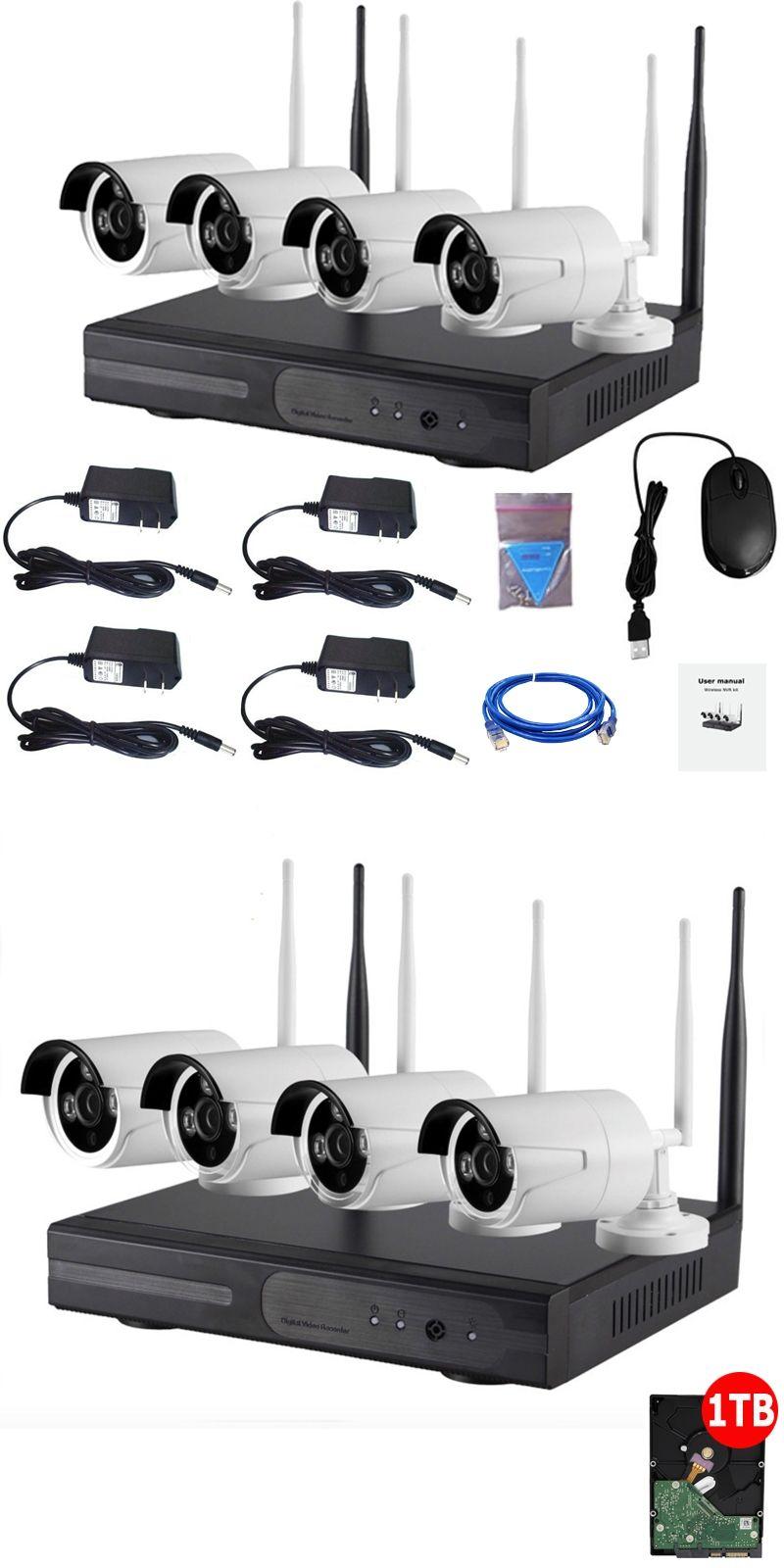 4CH CCTV System 960P NVR 4PCS 1.3 MP IR Outdoor P2P Wireless Wifi IP ...