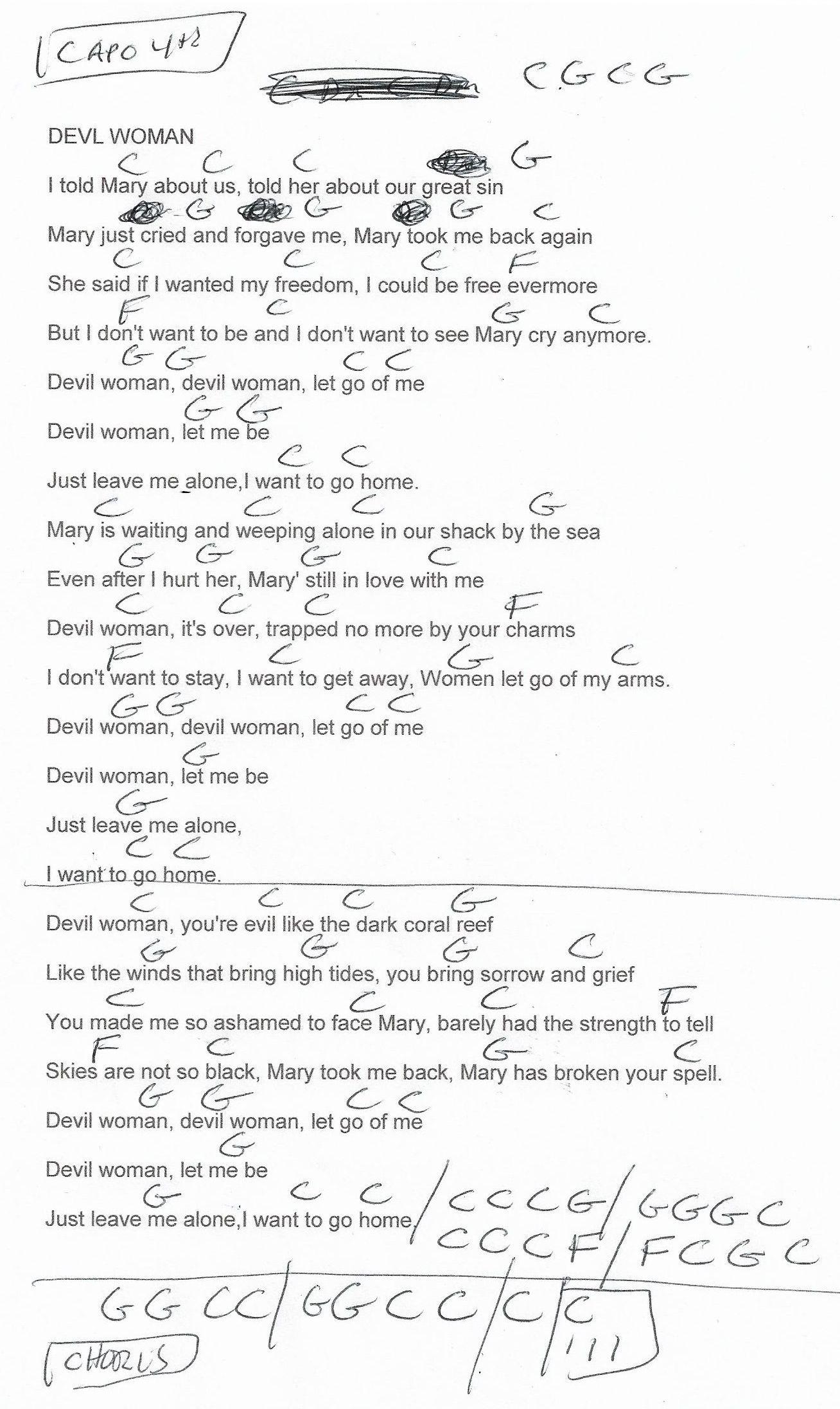 Devil Woman Marty Robbins Guitar Chord Chart Capo 4th 2018