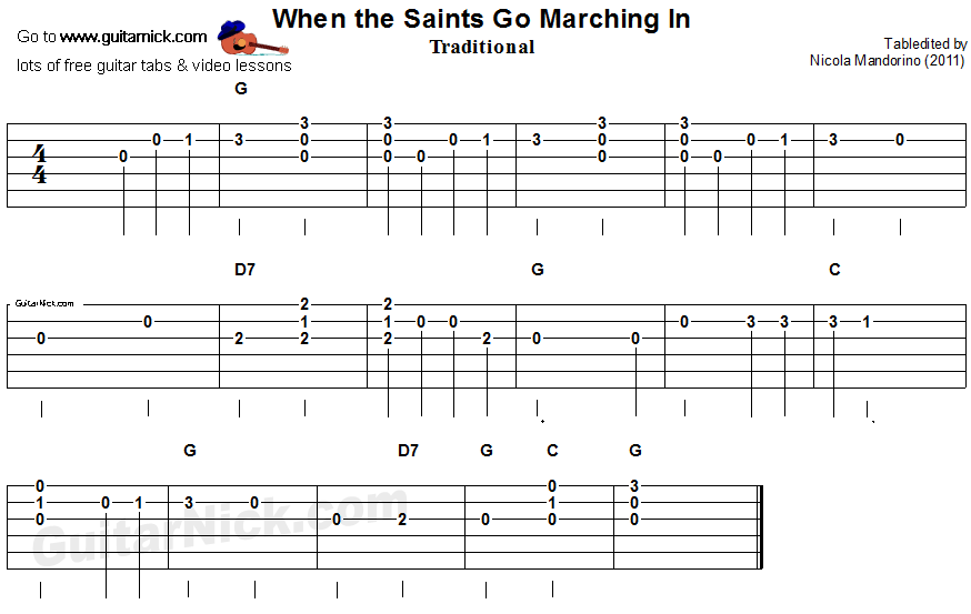 When The Saints Go Marching In Easy Song For Beginners Guitar