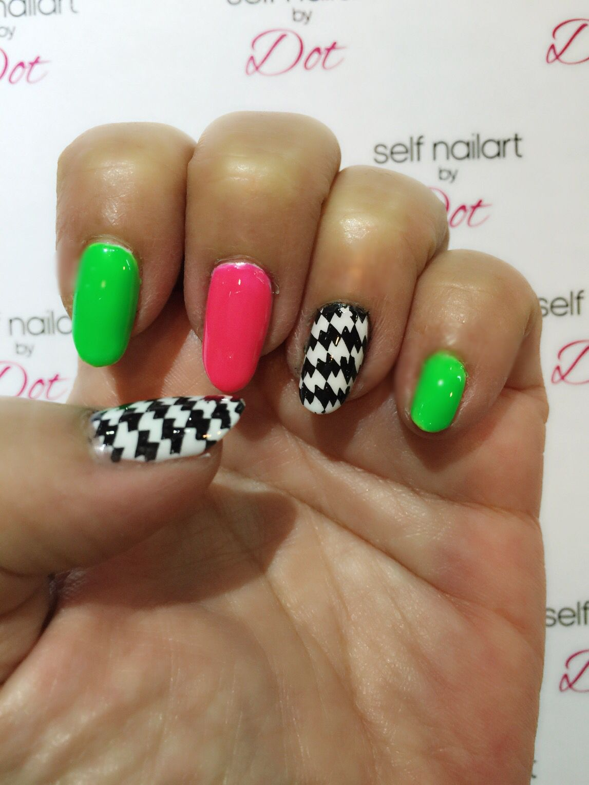 Bright neon colored nails with accent nail stamped with moyou Pro 12 ...