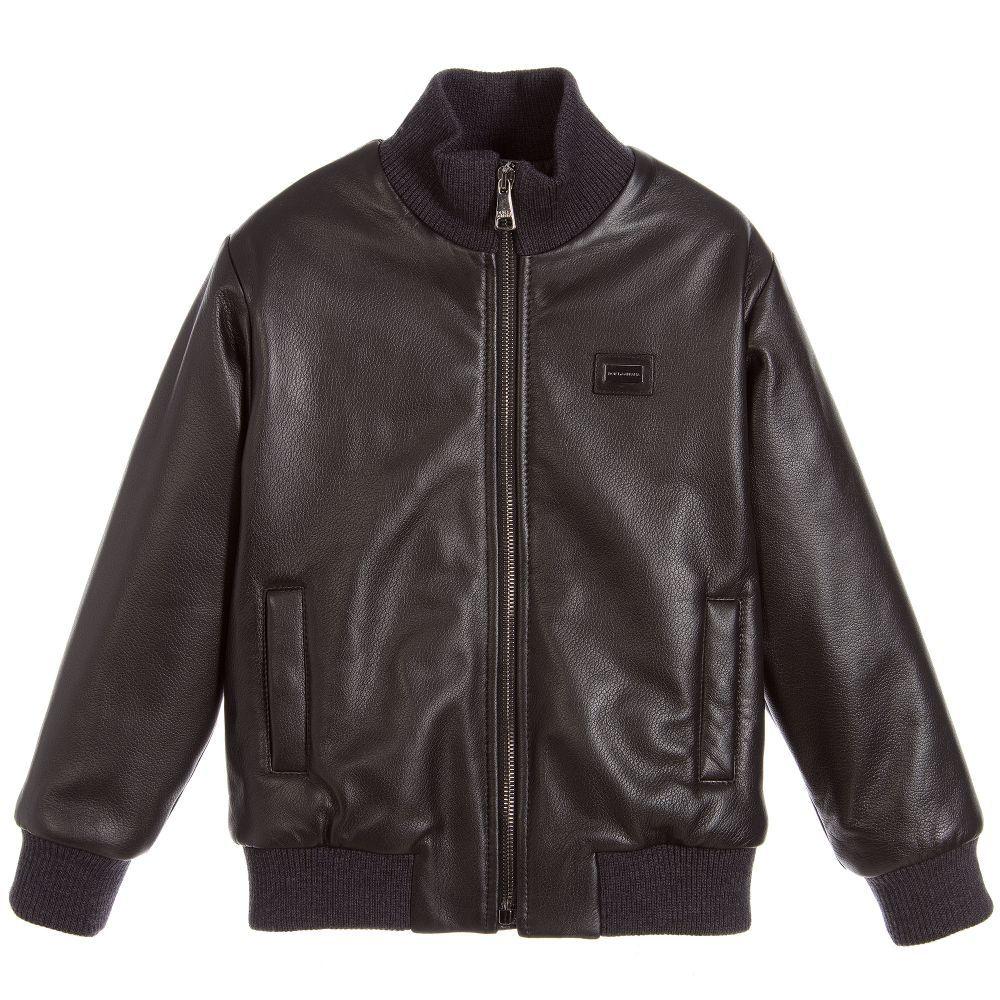 brand Boys Black Leather Jacket at