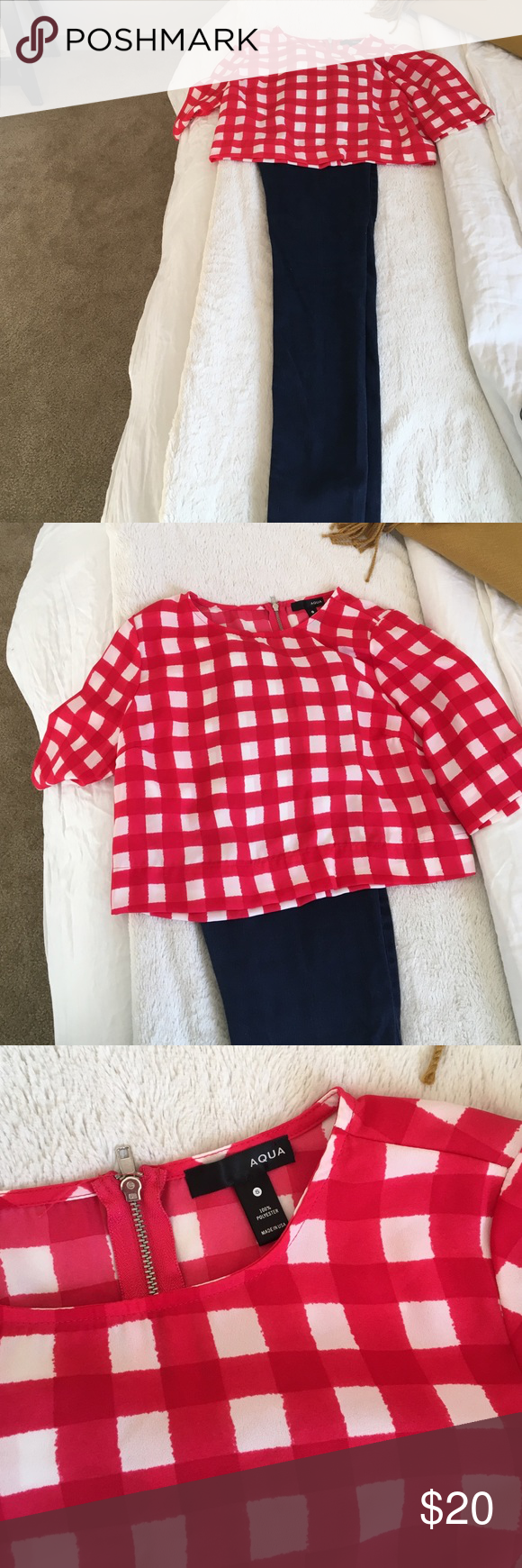 Adorable Aqua red and white plaid crop top Adorable red and white plaid crop top. WORN ONCE!!!! It is by Aqua. It is silky fabric. Runs true to size. Zipper in the back.  It can be worn with high waisted jeans or I wore it for the 4th of July with a cute white skirt! Aqua Tops Crop Tops