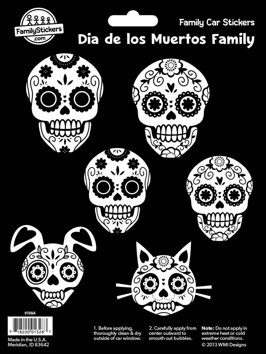 Family car sticker designs - Dia De Los Muertos Family Car Stickers Day Of The Dead Decals Familystickers
