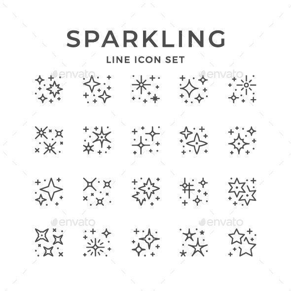 Set Line Icons of Sparkling and Twinkling
