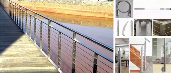 Indoor Stairwell Cable Railing Use Stainless Steel Square ...