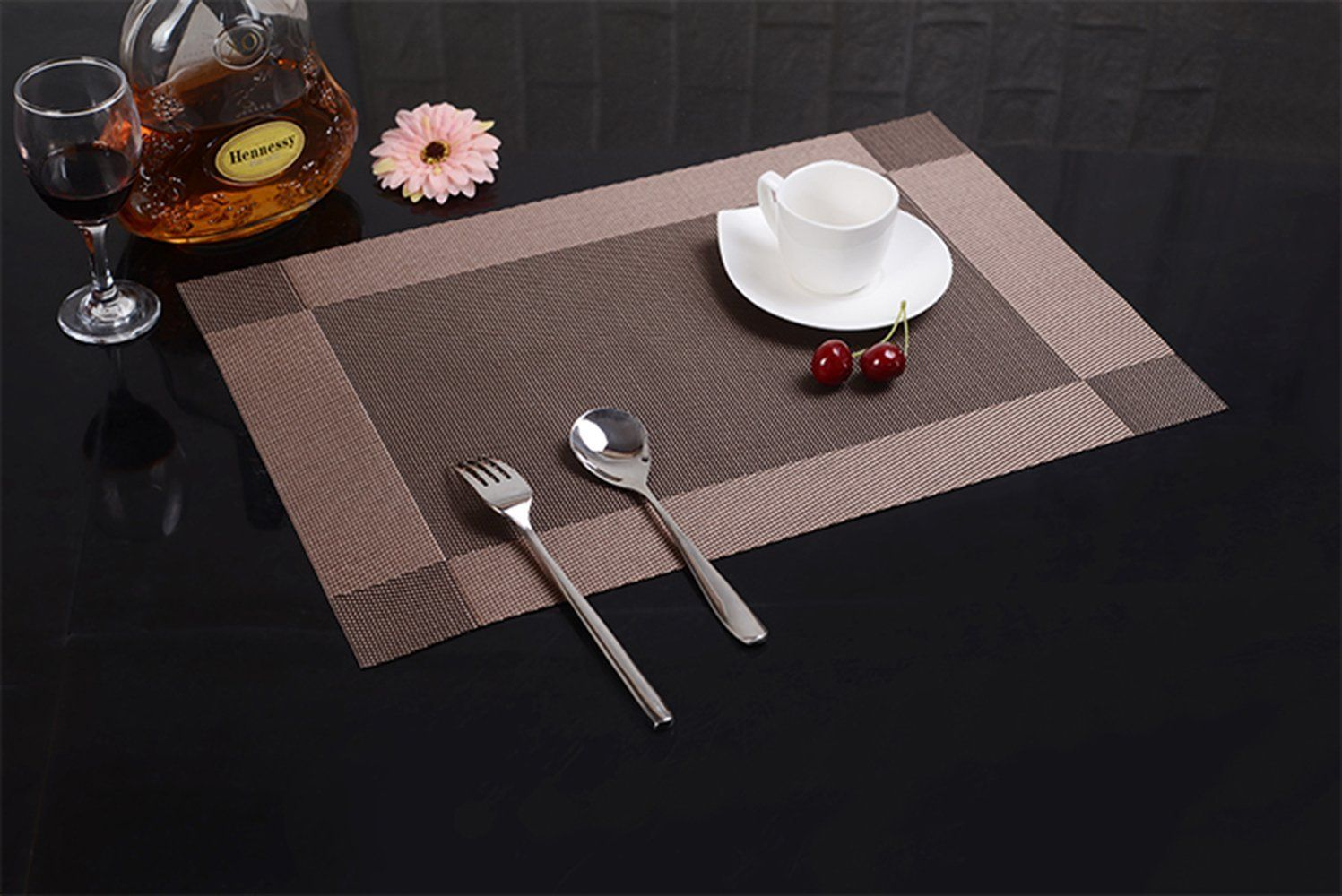 Wimaha Place Mats Set Of 6 Wipe Clean Placemats For Dining Table For  Kids,brown
