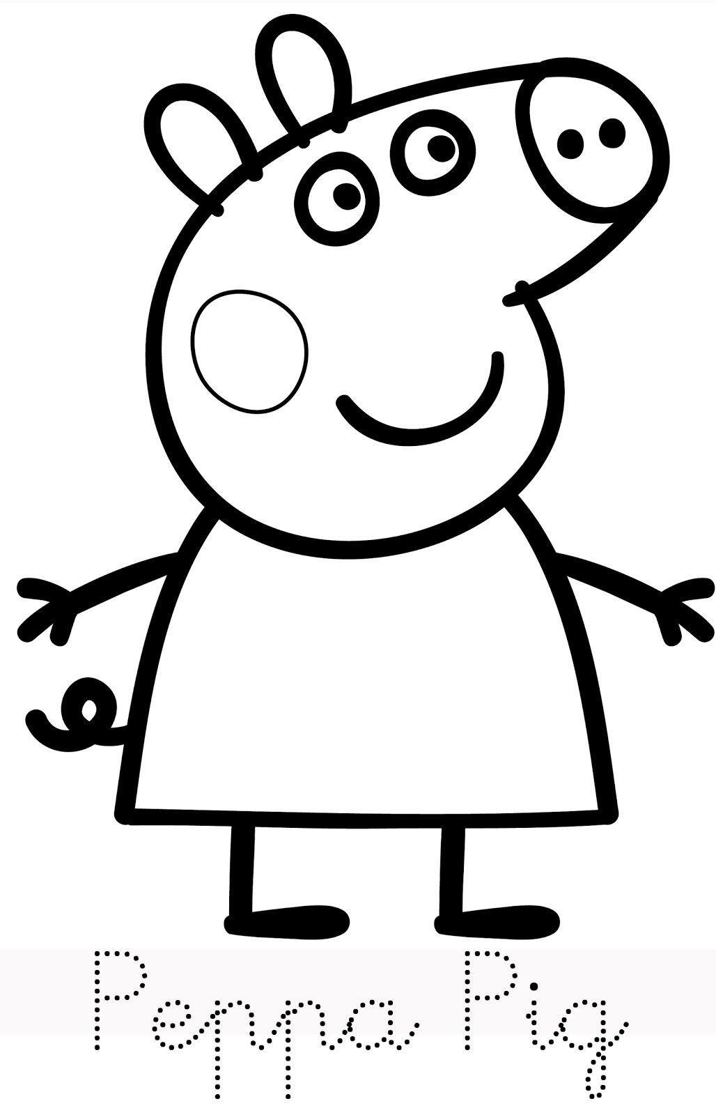 hello peppa pig and her family is here print trace and colour