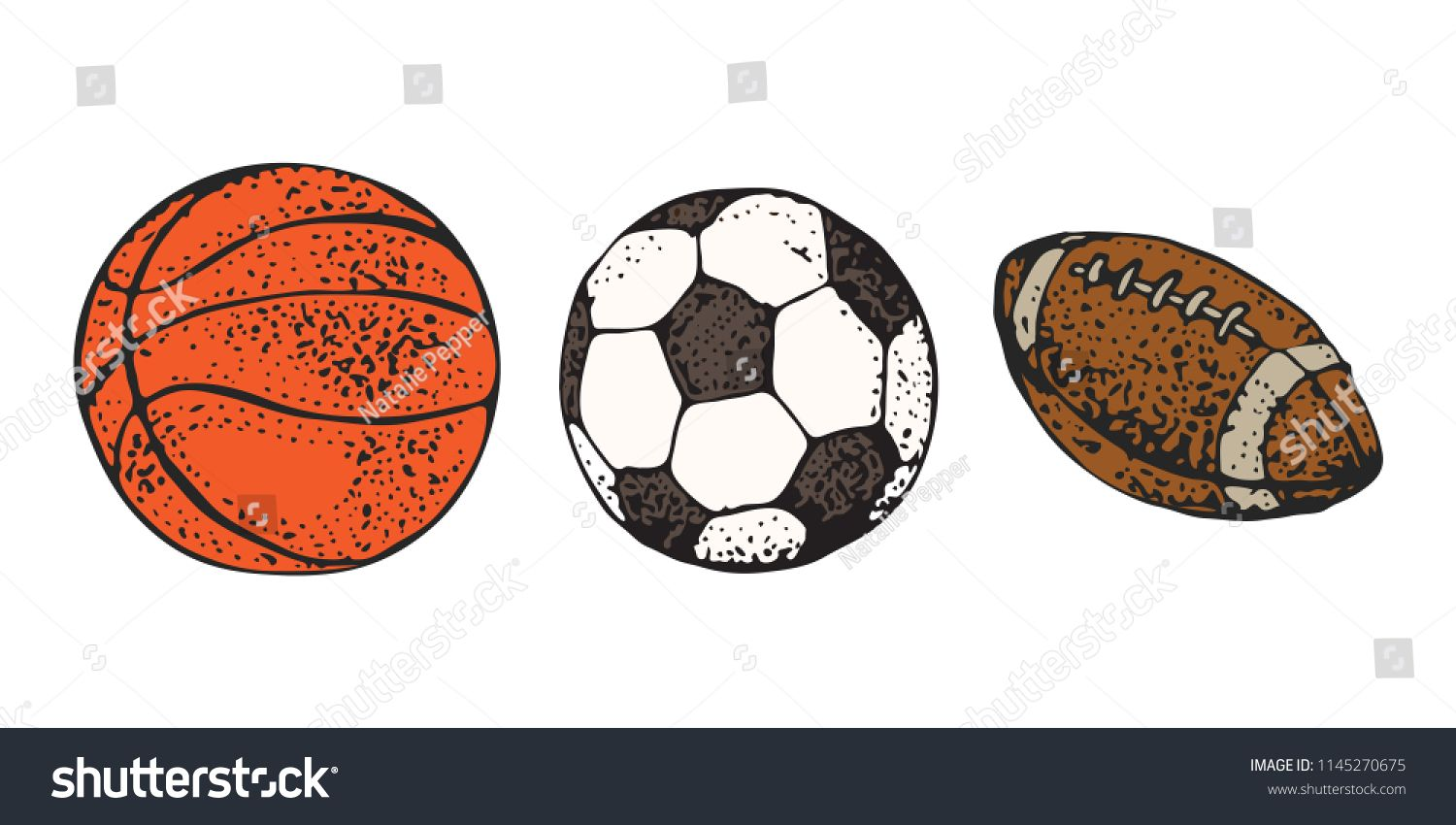 Sport Balls Set Vector Illustration Isolated On White Background Hand Drawn Cartoon Icon American Football Rugby Baske Sports Balls Soccer How To Draw Hands