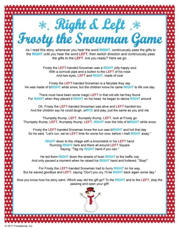 Gift Exchange Right Left Frosty The Snowman Game By