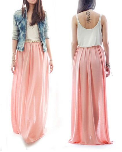 5e27189a5fd Loooooove the soft pink maxi w the easy white tank   jean jacket (i d  rather the jacket not be acid wash though)