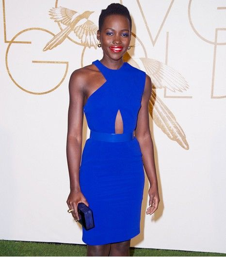 fca4195d07a8 ... Lupita s cobalt blue Stella McCartney dress look incredible against  dark skin. Get The Look  Tory By Ronny Kobo Angelica Crossover Cutout Dress  ( 24)