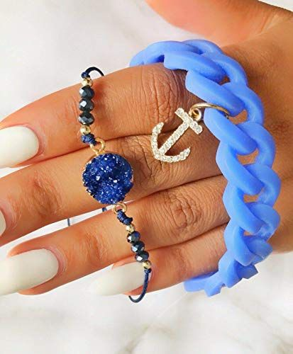 Blue Chunky Stretch Bracelets 7″-9″ Boho Stackable Anchor