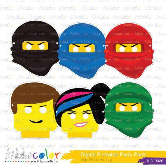 Printable Birthday Game Lego Ninjago Mask Lego Ninjago Party Lego Birthday Party Ninjago Birthday