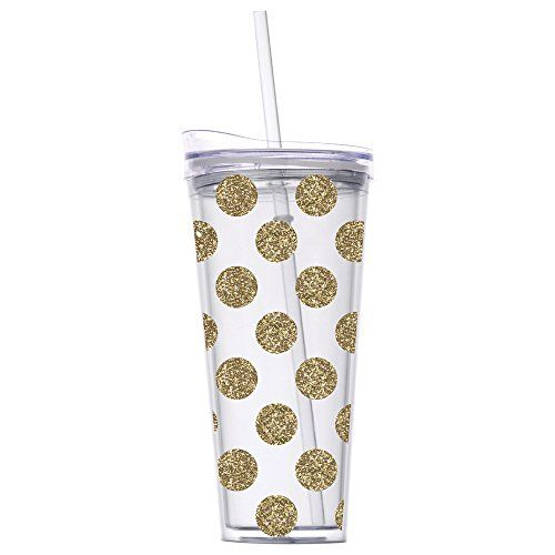 Slant Double Wall Tumbler with Straw - Gold Glitter Dots ...