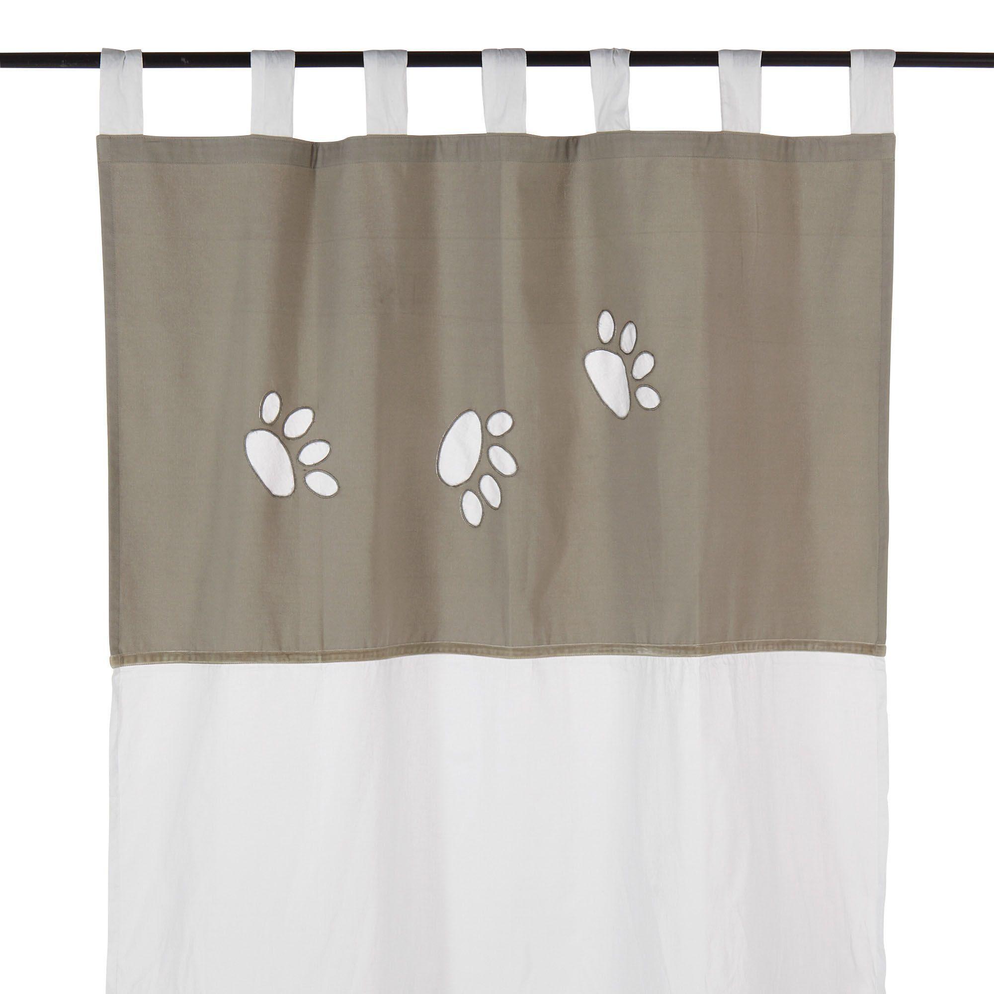 voilage pattes 105x205cm motifs empreintes lin et blanc steps les rideaux et voilages. Black Bedroom Furniture Sets. Home Design Ideas