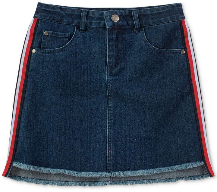 05af63fe4 Tommy Hilfiger Big Girls Side Stripe Frayed Hem Denim Skirt   Jean ...